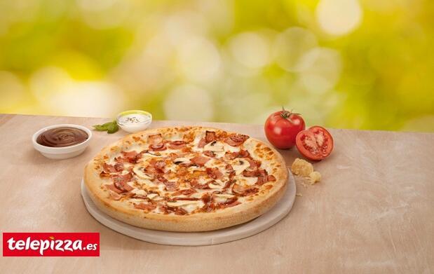 Pizza familiar 3 ingredientes+refresco 1L
