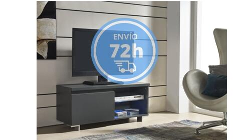 Mueble TV gris con cristal + Antracita con LED